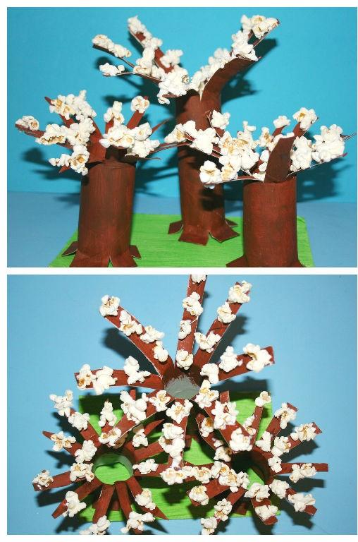 Popcornowe drzewa źródło: https://dzieciakiwdomu.pl/2014/04/wiosenne-drzewka-z-popcornu.html