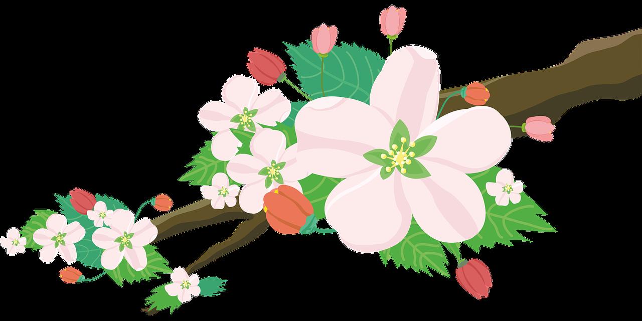 kwiaty na gałązce